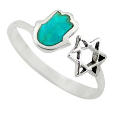 925 silver green turquoise tibetan adjustable ring jewelry size 9 c10754