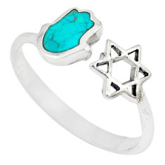 925 silver green turquoise tibetan adjustable ring jewelry size 9 c10756