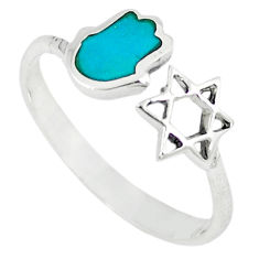 925 silver green turquoise tibetan adjustable ring jewelry size 9 c10757
