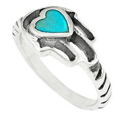 925 silver green turquoise tibetan hand of god hamsa ring jewelry size 7 c10690