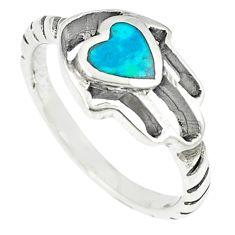 925 silver green turquoise tibetan hand of god hamsa ring jewelry size 7 c10695
