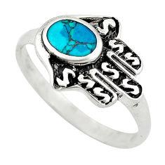 925 silver green turquoise tibetan hand of god hamsa ring jewelry size 9 c10708
