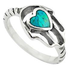 925 silver green turquoise tibetan hand of god hamsa ring size 7 c10700