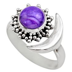 925 silver 3.02cts half moon natural charoite adjustable ring size 6.5 r53213