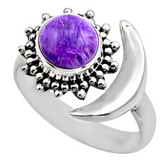 925 silver 3.02cts half moon natural charoite adjustable ring size 7.5 r53216