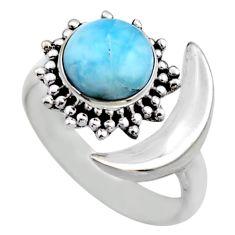 925 silver 3.02cts half moon natural larimar adjustable ring size 7.5 r53205