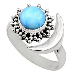 925 silver 3.18cts half moon natural larimar adjustable ring size 7.5 r53209