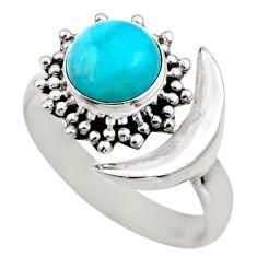 925 silver half moon natural peruvian amazonite adjustable ring size 7.5 r53224