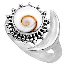 925 silver 4.69cts half moon natural shiva eye adjustable ring size 7 r53233