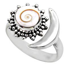 925 silver 4.69cts half moon natural shiva eye adjustable ring size 8 r53239