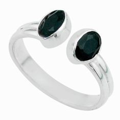 Clearance Sale- 925 silver 2.23cts halloween natural black onyx adjustable ring size 7 t57712