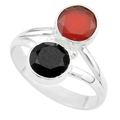 Clearance Sale- 925 silver 5.84cts halloween natural black onyx cornelian ring size 8 t57657