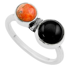 925 silver 3.83cts halloween natural black onyx sponge coral ring size 8 t57794