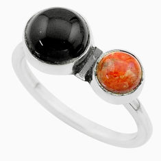 Clearance Sale- 925 silver 3.78cts halloween natural onyx sponge coral ring size 8.5 t57800