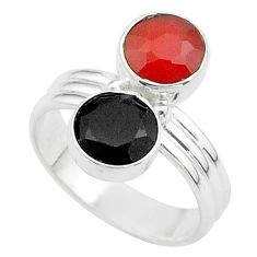 Clearance Sale- 925 silver 5.23cts halloween natural orange cornelian onyx ring size 6.5 t57987