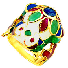 925 silver handmade natural green emerald ruby gold frog thai ring size 9 c21075