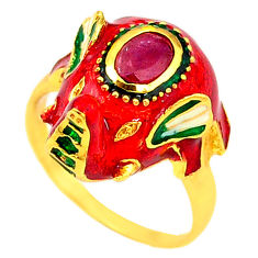 925 silver handmade natural ruby enamel gold elephant thai ring size 8 c21094