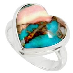 925 silver heart natural pink opal in turquoise solitaire ring size 7 r34704
