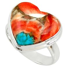 925 silver heart spiny oyster arizona turquoise solitaire ring size 8 r34799