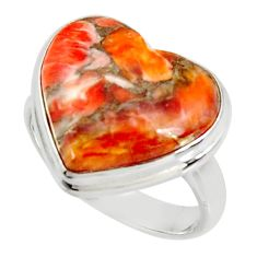 925 silver heart spiny oyster arizona turquoise solitaire ring size 8 r34800