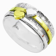 925 silver 5.65gms heart victorian two tone spinner band ring size 8.5 t51704