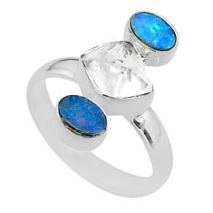 925 silver 7.04cts herkimer diamond doublet opal australian ring size 8 t49886