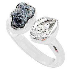 925 silver 8.09cts herkimer diamond raw adjustable ring size 9 t9884
