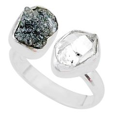 925 silver 8.51cts herkimer diamond raw adjustable ring size 7.5 t9889