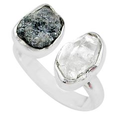 925 silver 8.87cts herkimer diamond raw fancy adjustable ring size 7.5 t9906