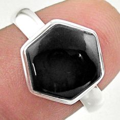 925 silver 5.45cts hexagon natural black onyx solitaire ring size 7 t48258