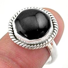 Clearance Sale- 925 silver 6.58cts hexagon natural black onyx solitaire ring size 7 t48400