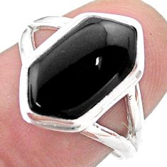 925 silver 5.11cts hexagon natural black onyx solitaire ring size 7 t48547