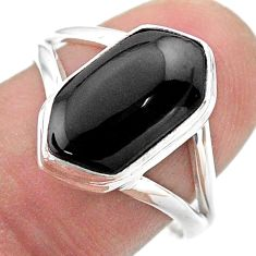 925 silver 4.82cts hexagon natural black onyx solitaire ring size 8 t48660