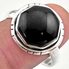 Clearance Sale- 925 silver 7.11cts hexagon natural black onyx solitaire ring size 9 t48360