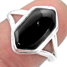 Clearance Sale- 925 silver 5.83cts hexagon natural black onyx solitaire ring size 7.5 t48540