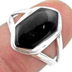 925 silver 5.09cts hexagon natural black onyx solitaire ring size 7.5 t48558