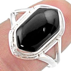925 silver 5.57cts hexagon natural black onyx solitaire ring size 7.5 t48658