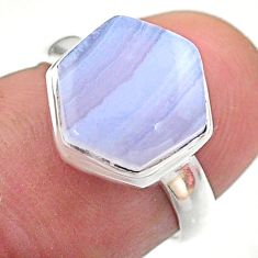 925 silver 5.43cts hexagon natural blue lace agate solitaire ring size 6 t48229
