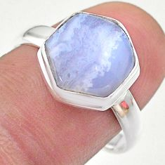 925 silver 6.03cts hexagon natural blue lace agate solitaire ring size 9 t48237