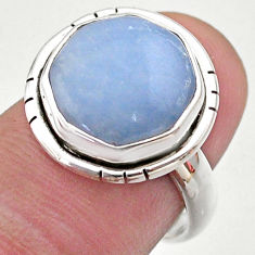 925 silver 6.54cts hexagon natural blue owyhee opal solitaire ring size 7 t48344