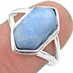 925 silver 5.87cts hexagon natural blue owyhee opal solitaire ring size 8 t48577