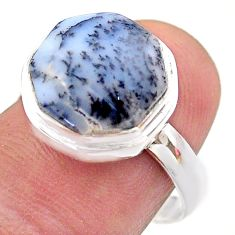 925 silver 6.80cts hexagon natural dendrite opal solitaire ring size 8 t48314