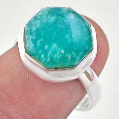 925 silver 7.04cts hexagon natural green amazonite solitaire ring size 7 t48310