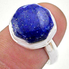 925 silver 6.57cts hexagon natural lapis lazuli solitaire ring size 6 t48370