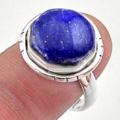925 silver 7.89cts hexagon natural lapis lazuli solitaire ring size 8 t48390
