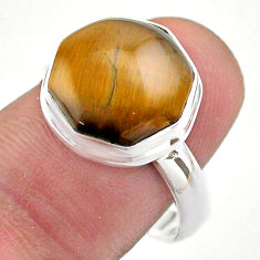 925 silver 5.94cts hexagon natural tiger's eye solitaire ring size 8 t48365