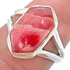 925 silver 5.02cts hexagon rhodochrosite inca rose solitaire ring size 7 t48612
