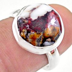 925 silver 6.08cts hexagon wild horse magnesite solitaire ring size 7 t48355