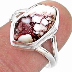 925 silver 5.38cts hexagon wild horse magnesite solitaire ring size 8 t48535
