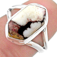 925 silver 4.99cts hexagon wild horse magnesite solitaire ring size 6.5 t48655